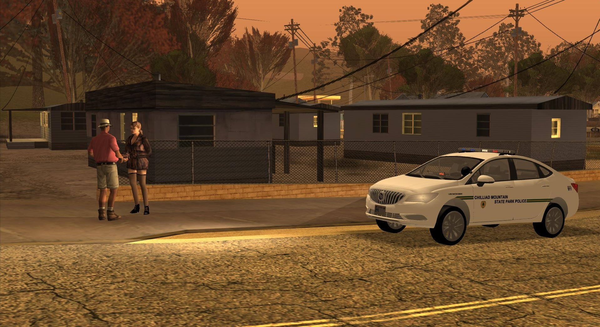 A Chilliad Mountain State Park Police officer investigates at the scene of reported prostitution. - posted by Thatoneiowan