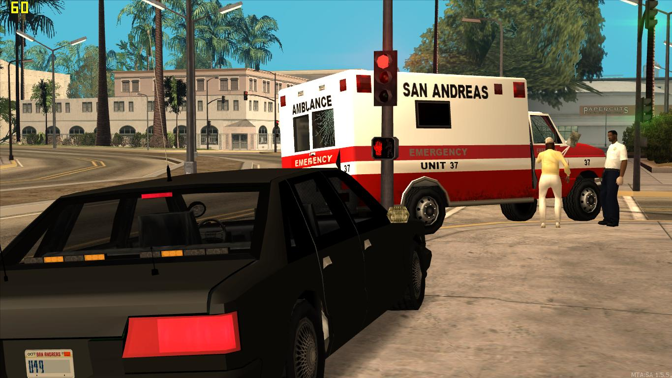 A state trooper assists Los Santos Fire Department on an emergent medical call. - posted by Thatoneiowan