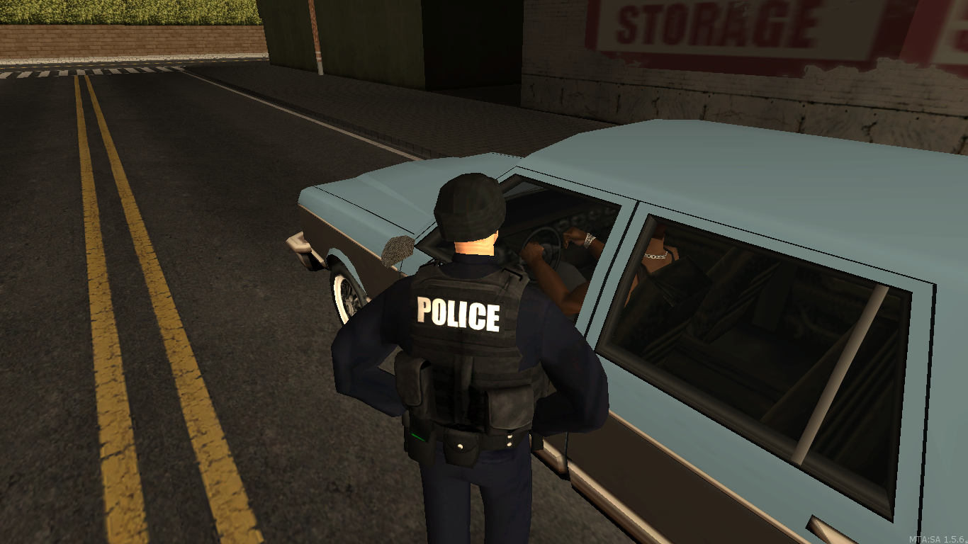 LSPD officer on a traffic stop. - posted by WolfSchultz