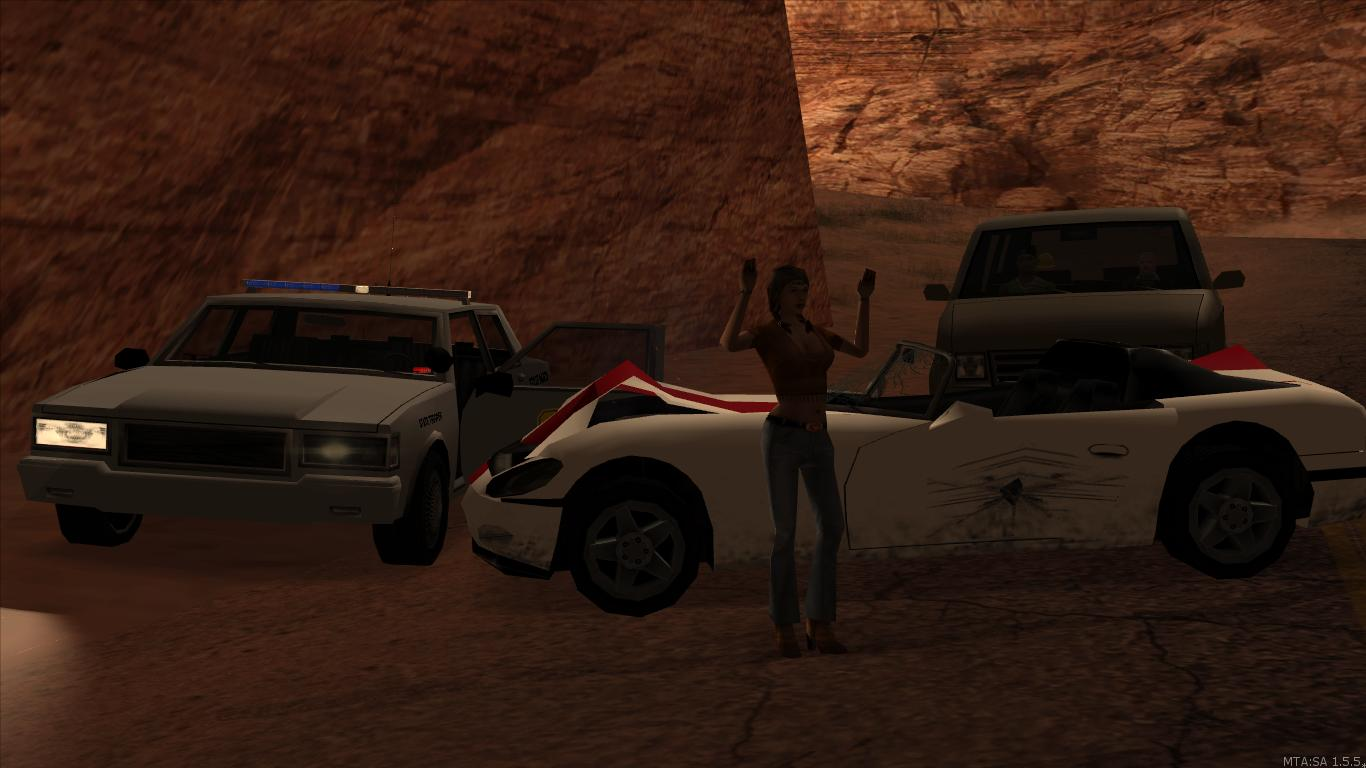A state trooper stops a fleeing subject west of Las Payasadas. - posted by Thatoneiowan